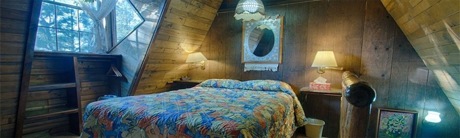 Cabin 7 & 8  at Bear Creek Motel & Cabins are two bedrooms upstairs. One private bedroom with a Queen sized.